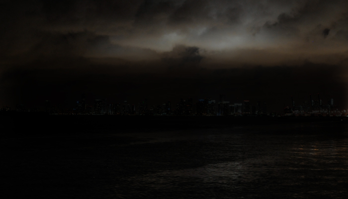 Blackout on Miami Skyline at night